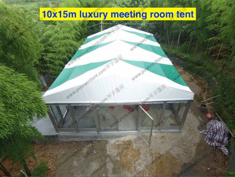 Colorful PVC Cover with Inside Lining Decoration and Glass Sidewalls for Outdoor Event as Business Meeting or Patry