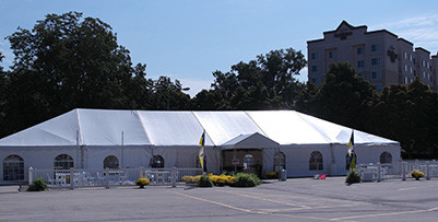 Heavy Duty Wedding Event Tents , Large Canopy Tent White Lining And Curtain